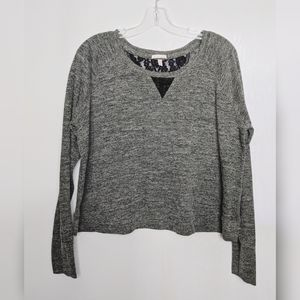 Victoria's Secret Grey Black Lace Boxy Crop Top L